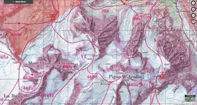 Mapa del recorrido de esquí de la región: El grupo quería cruzar desde Cabanne des Dix (arriba a la izquierda) hasta Cabanne des Vignettes (abajo a la derecha). MAP.GEO.ADMIN.CH