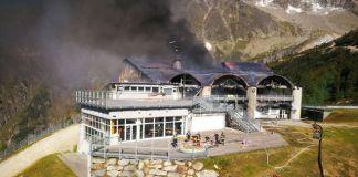 Imagen de la estación intermedia de Grands Montets después del incendio