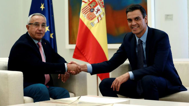 Alejandro Blanco y Pedro Sánchez durante la reunión en la Moncloa