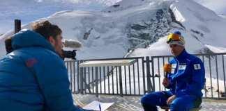 El presidente May Peus, durante una entrevista en el glaciar Mittelallalin, de Saas Fee