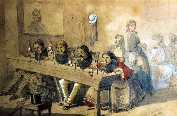 GRabado en el que se muestra a los primeros clientes de la corte francesa en un balneario pirenaico