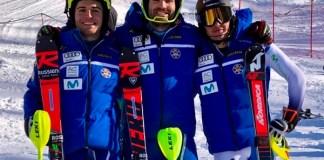 Los tres esquiadores españoles tras triunfar en el slalom FIS de Gressoney St Jean. FOTO: RFEDI/Spainsnow