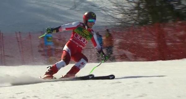 Por segunda vez en los últimos 22 gigantes, Marcel Hirscher se ha visto fuera del podio.