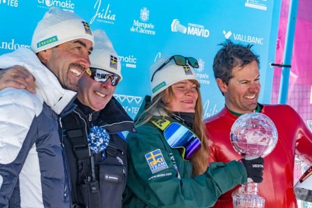 Los dos campeones con el ex corredor Luc Alphand y Nadal Andor, director de Grau Roig