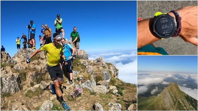 Aritz Egea, en pleno descenso y el reloj con el tiempo final. Fotos: Iñaki Uribe y Salomon
