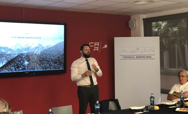 Gerard Figueras, secretario general del Deporte y de la Actividad Física de la Generalitat de Cataluña, durante la presentación en el CAR
