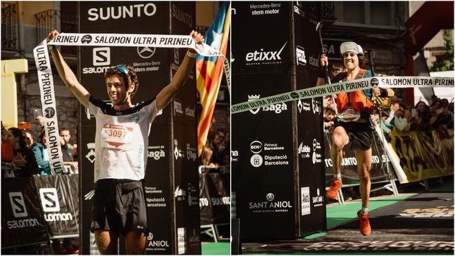 Jan Margarit y Ainhoa Sanz, a su entrada en meta. David AriñoSalomon Ultra Pirineu