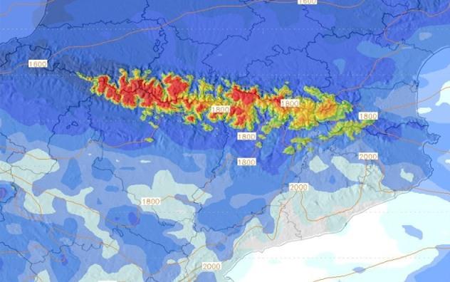 Nieve acumulada durante los cinco días de frentes atlánticos