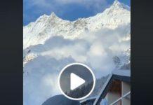 Con hasta dos metros de nieve, la bajada de la nieve provocó una gran nube blanca