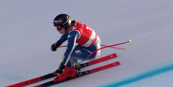 Sofia Goggia, instantes antes de romperse un brazo en el super G de Garmisch.