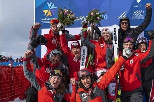 La alegría del equipo austriaco en el Mundial de Narvik. FOTO: Instagram M.E.