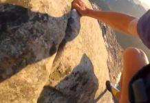 Jornet subiendo por la pared del Venjetinden