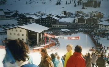 Zona de meta de la primera carrera de la Copa del Mundo que se celebró en Lech-Zürs, un super G femenino en enero del 88 en el que se impuso la suiza Zoe Haas. FOTO: Lech Zürs Tourismus/Felix Weishaupl