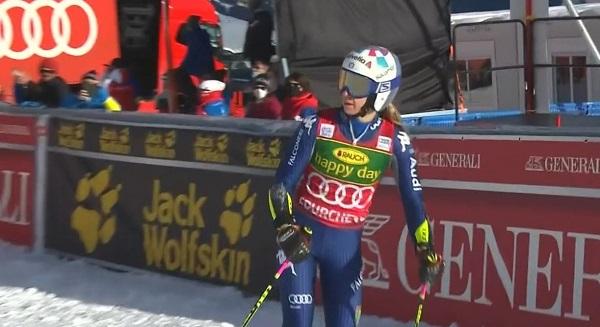 Marta Bassino, la que más se ha acercado a Shiffrin en la primera bajada. En la segunda se ha caído.