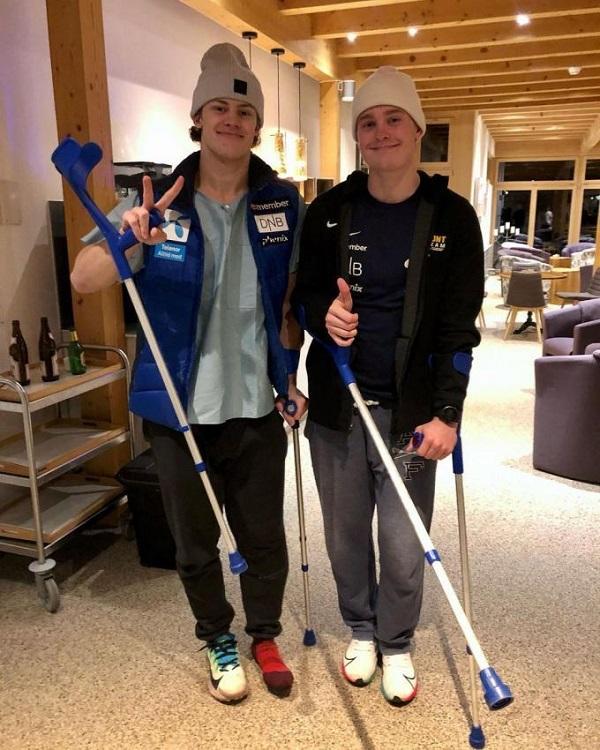 Lucas Braathen (izq) y Atle Lie McGrath, en el hospital tras lesionarse en Adelboden. FOTO: RR.SS. McGrath