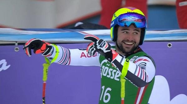 Matthieu Bailet, un hombre absolutamente feliz en la meta de la Schneekristall.