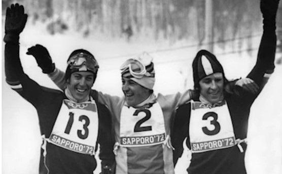 Roland Thoeni, a la derecha, junto a Paquito fernández Ochoa y su primo Gustav.