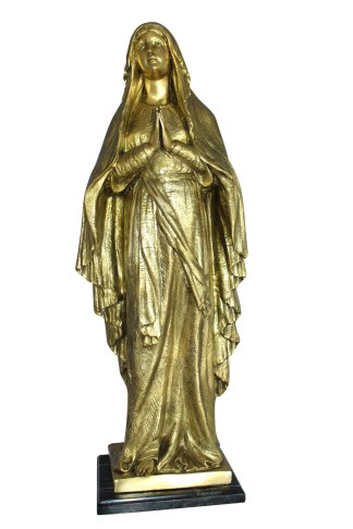"""Blessed Virgin Mary Bronze Statue -  Size: 10""""L x 8""""W x 33""""H."""