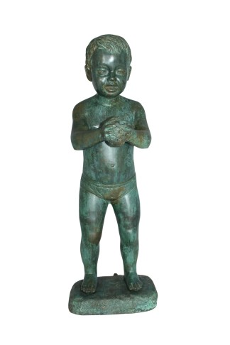 """Boy with Sponge Bronze Statue -  Size: 8""""L x 9""""W x 22""""H."""