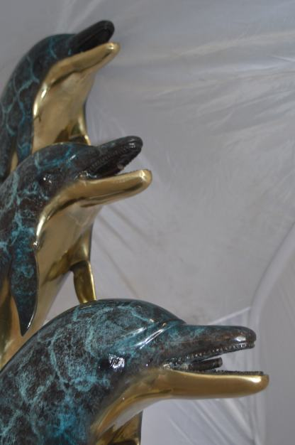 "Three Dolphins Overreach Each Other Fountain  Bronze Statue -  22""x 15""x 68""H."