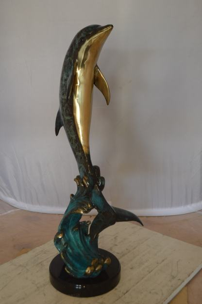 """Dolphin Fountain  On A Marble Base Bronze Statue -  Size: 12""""L x 8""""W x 30""""H."""