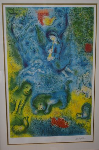 """Magic Flute by Marc Chagall Limited Edition Lithograph -  42""""L x 30""""W x 2""""H."""