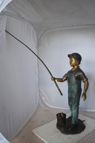 "Kid Fishing Water Fountain Bronze Statue -  Size: 18""L x 22""W x 49""H."
