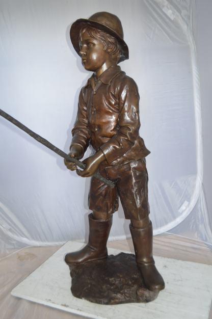 "Boy Fishing Life Size Bronze Statue -  Size: 72""L x 24""W x 53""H."