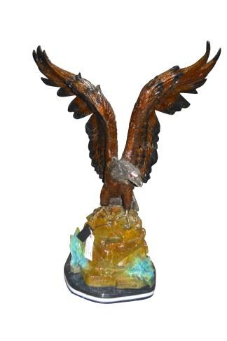 "Eagle On A Rock Bronze Statue -  Size: 32""L x 18""W x 48""H."