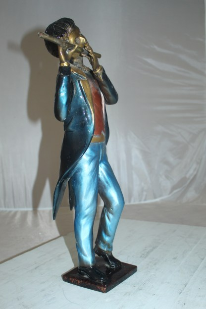 """Boy Playing the Flute Bronze Statue -  Size: 5""""L x 10""""W x 19""""H."""