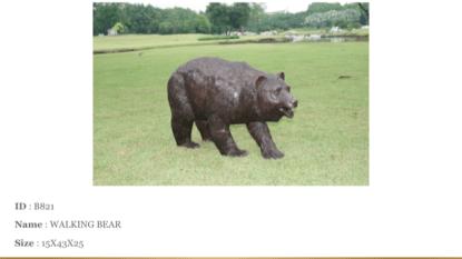 """A bear walking Bronze Statue -  Size: 39""""L x 12""""W x 24""""H."""