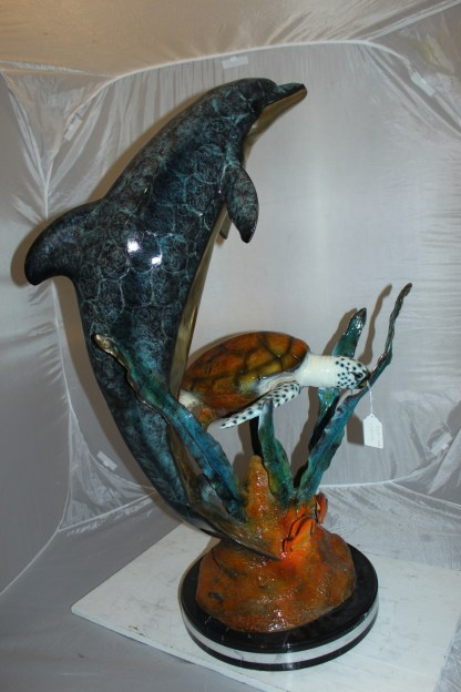 """Dolphin with large turtle Bronze Statue -  Size: 30""""L x 30""""W x 44""""H."""
