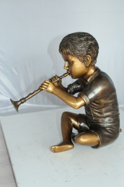 "Boy with Flute fountain bronze statue -  Size: 7""L x 11""W x 14""H."
