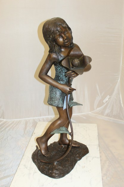 "Girl Holding a Flower Fountain Bronze Statue -  Size: 15""L x 15""W x 35""H."