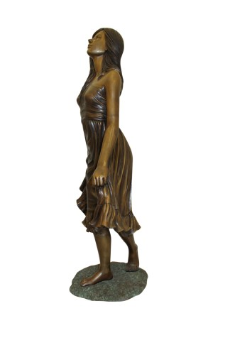 """Lady holding her Skirt Bronze Statue -  Size: 32""""L x 17""""W x 53""""H."""