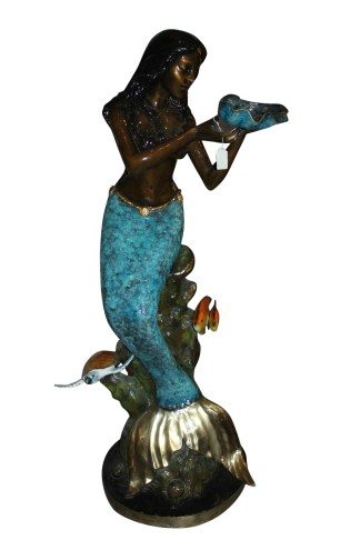 "Mermaid holding shell L, W turtle and fish Bronze fountain -  38"" x 24"" x 68""H."