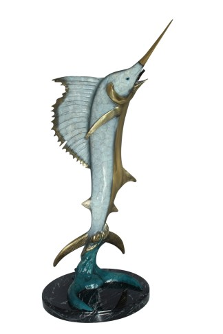 """One Sailfish Jumping of the ware - Bronze Statue -  Size: 16""""L x 16""""W x 39""""H."""