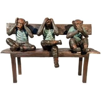 "Three Wise Monkeys on Bench Bronze Statue -  Size: 45""L x 19""W x 30""H."