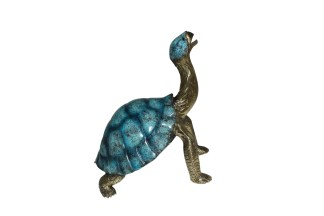 """Turtle with special patina Bronze Statue -  Size: 14""""L x 10""""W x 15.5""""H."""
