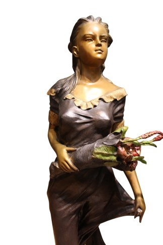 """Woman Holding Bouquet Standing on Lily  Bronze Statue/Fountain 28"""" x27""""x 60""""H."""
