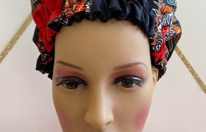 African print reversible bonnet