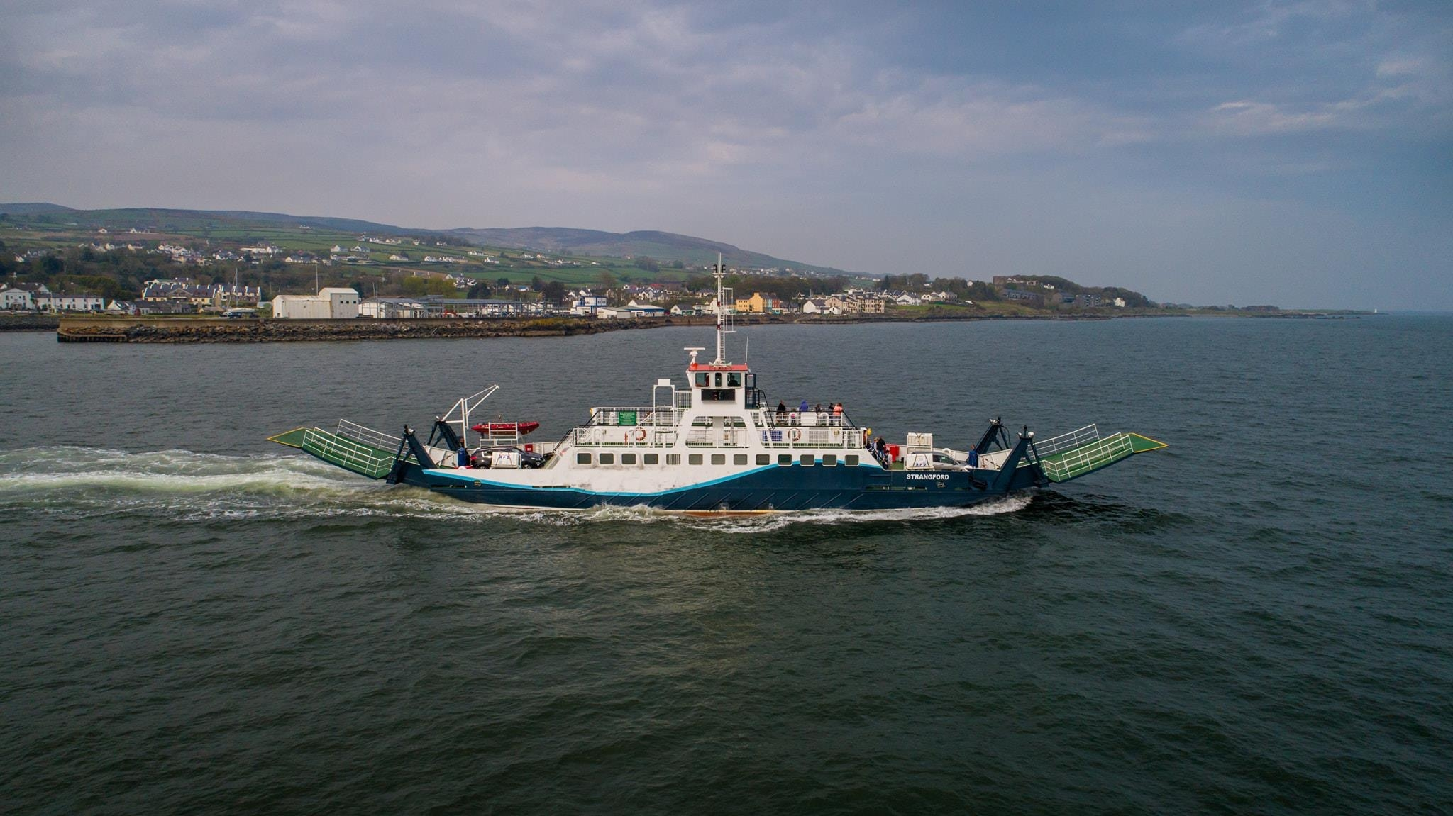 Frazer Ferries STRANGFORD seen leaving Greencastle at the start of another crossing to Magilligan Point while in service for Scenic Lough Foyle Ferry, Spring 2019. Scenic Lough Foyle Ferry.