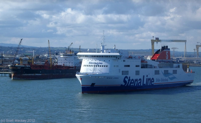 STENA LAGAN passes Admiral in Belfast as she begins another crossing to Birkenhead. Copyright © Scott Mackey.