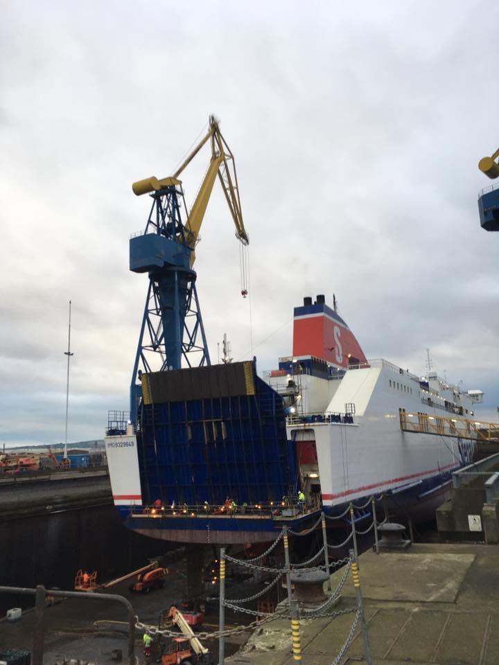 Stena Lagan in Belfast dry dock, January '17. Stena Line