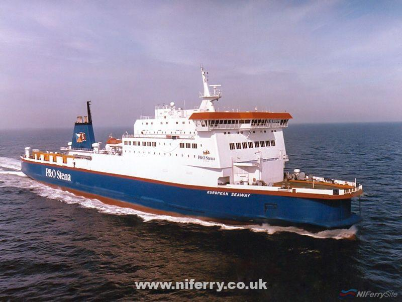 Official photograph of EUROPEAN SEAWAY in P&O Stena Line livery. P&OSL/Fotoflite.