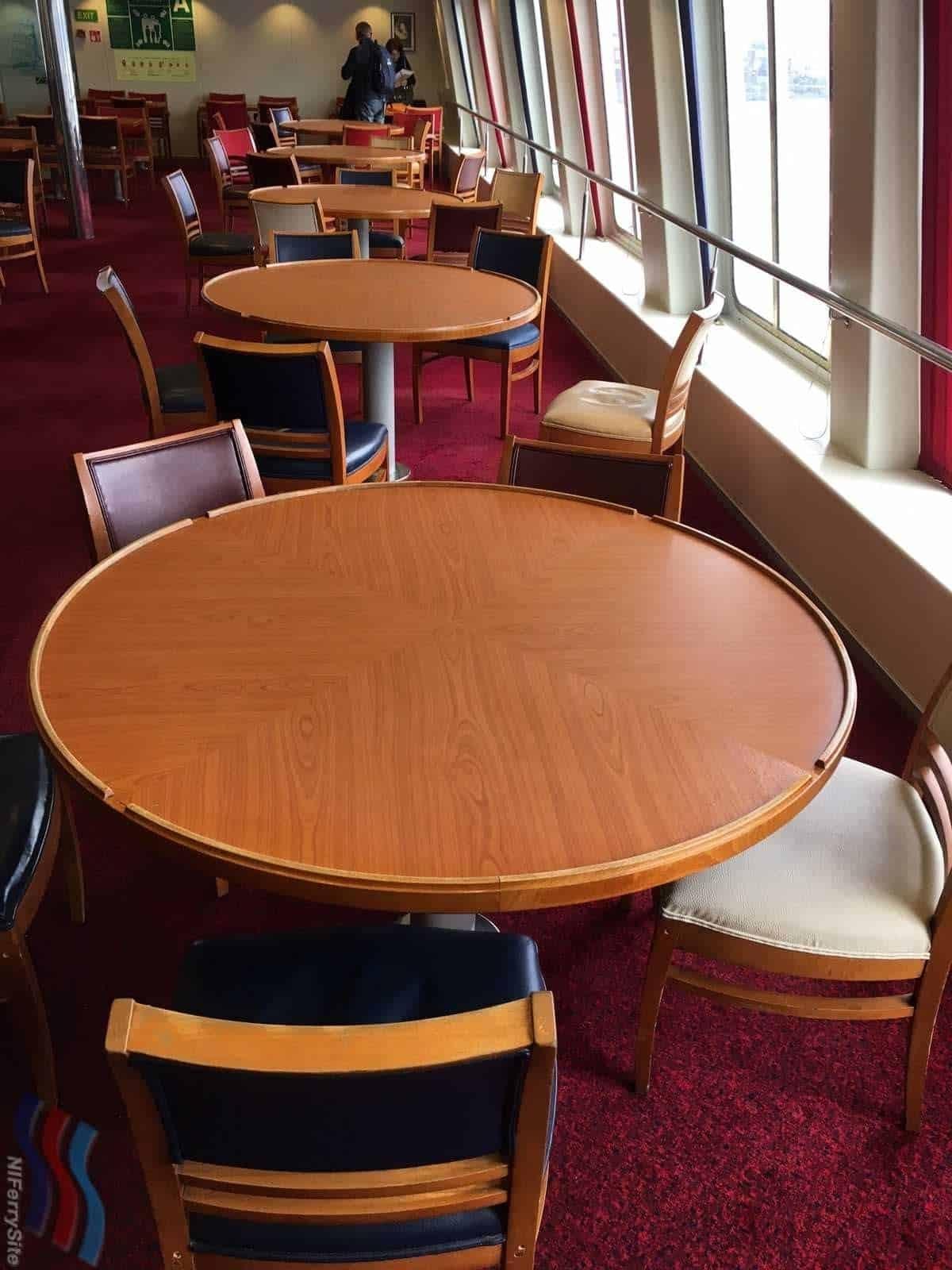 Tables in the restaurant, European Seaway. © Steven Tarbox.