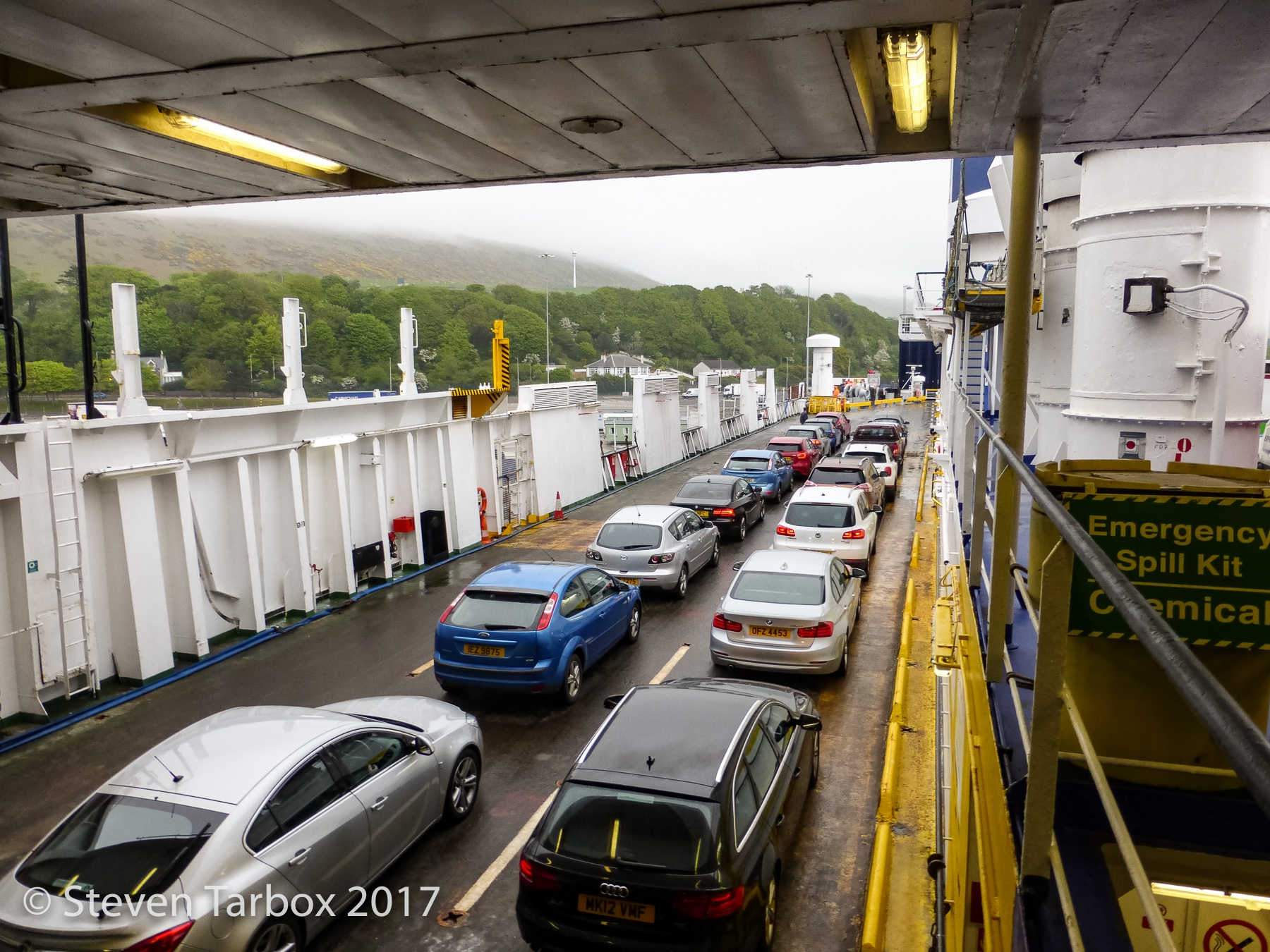 View of the cars on the upper vehicle deck - normally these decks would only contain freight. © Steven Tarbox