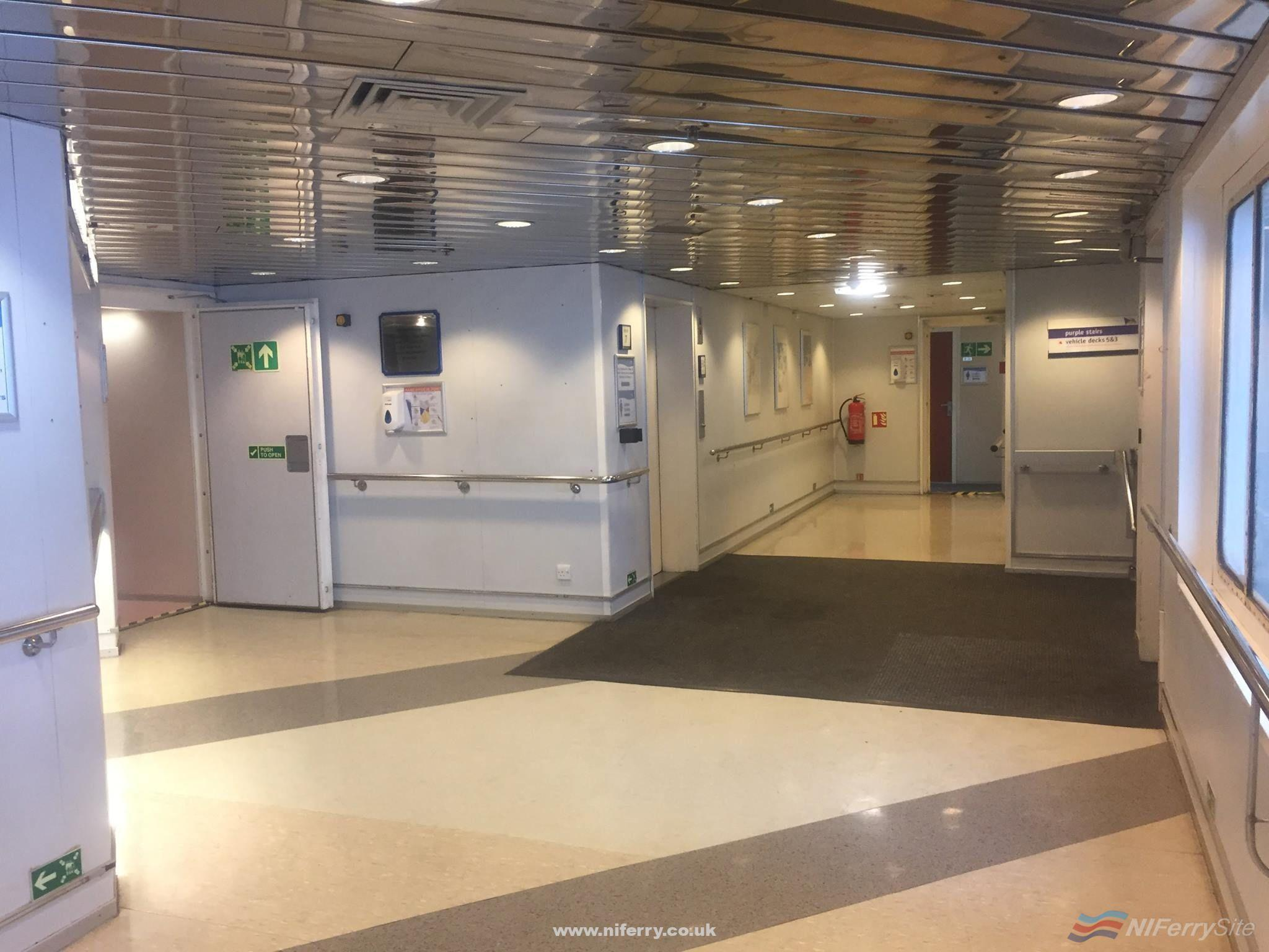 Deck 4 lobby, European Seaway. The information desk is to the left of this picture. Copyright © Gary Andrews.