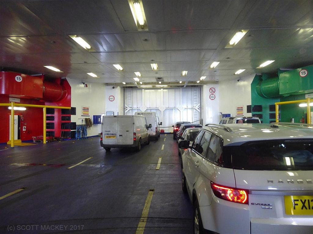 Upper vehicle deck looking towards the bow door, European Seaway. Copyright © Scott Mackey.