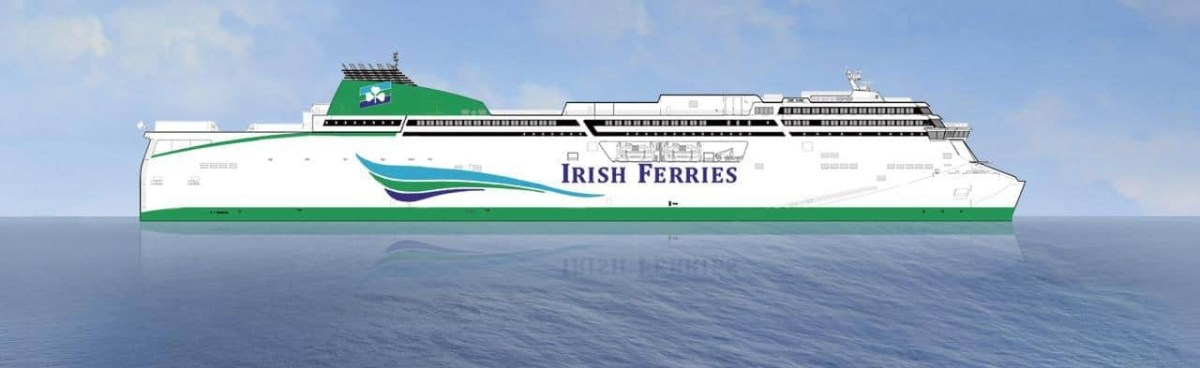 Artist rendering of the new €165.2 cruise ferry ordered by Irish Continental Group for their Irish Ferries Dublin to Holyhead service. ICG